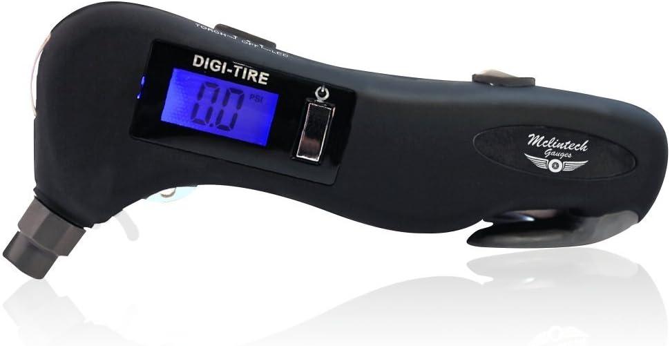 Mclintech Tire Gauge on Amazon 5 in 1 Tire Pressure Gauge - Safety Hammer, Flashlight, Seatbelt Cutter, Red Safety Light and Tire Pressure Gauge