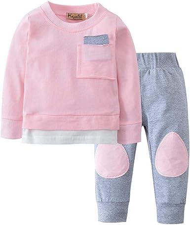 Modaworld Otoño recién Nacido bebé niño niña Camiseta Tops Camisas niños + Pants Pantalones 2 Pcs Conjunto de Ropa: Amazon.es: Ropa y accesorios