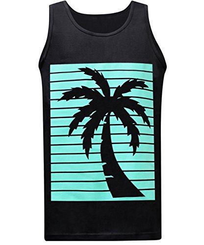 (California Republic Turquoise Palm Men's Muscle Tee Tank Top - (Large) - Black)