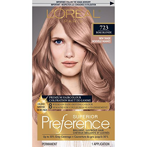 (L'Oréal Paris Superior Preference Fade-Defying + Shine Permanent Hair Color, 7RB Dark Rose Blonde (1 Kit) Hair Dye)