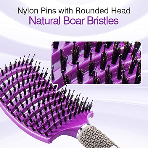 Kaier cat Boar Bristle Brush-Best at Detangling Thick Hair Vented for Faster Drying -100% Natural Boar Bristles for Hair Oil Distribution Purple
