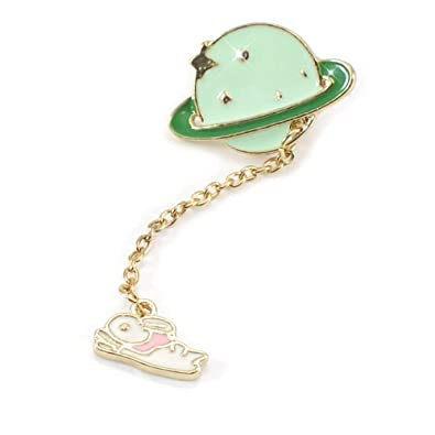 00d157ad8d4 Natsandles Enamel Gold pin - Cute brooche with Bunny Rabbit and Planet.  Hand Finished, Quirky Unique Gift: Amazon.co.uk: Jewellery