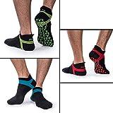 Muezna Men's Non Slip Yoga Socks, Anti-Skid Pilates, Barre, Bikram Fitness Socks with Grips (3 Pairs (Black+Red/Green/Blue), One Size - Men's Shoe US 5-11 | Women 6-13)