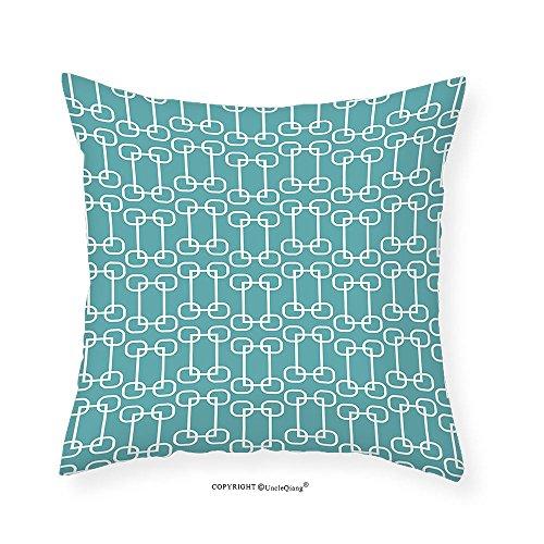 60s Linen (VROSELV Custom Cotton Linen Pillowcase Blue Vintage 60s Living Room Inspired Round Circled Chain Like Shapes Art Print for Bedroom Living Room Dorm Baby Blue and White 20