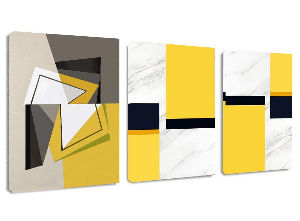 "Canvas Wall Art Geometric Abstract Artwork - 12"" x 16"" x 3 Panels Black Yellow White Canvas Painting Modern Picture for Dining Room Wall Decor Home Decoration"