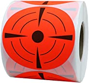 Hybsk Target Pasters 3 Inch Round Adhesive Shooting Targets - Target Dots - Fluorescent Red and Black (Fluores