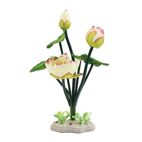Sourcingmap® Plástico Blanco De La Flor De Loto Peces De Acuario Tanque De Decoración del