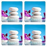 MSD Square Coasters Non-Slip Natural Rubber Desk Coasters design 35620197 Spa still life with pink orchid and white zen stone in a serenity pool