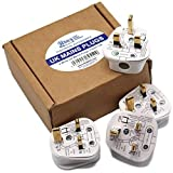 HDIUK Quality 4 pack UK 13A mains plug top self wire. (White)