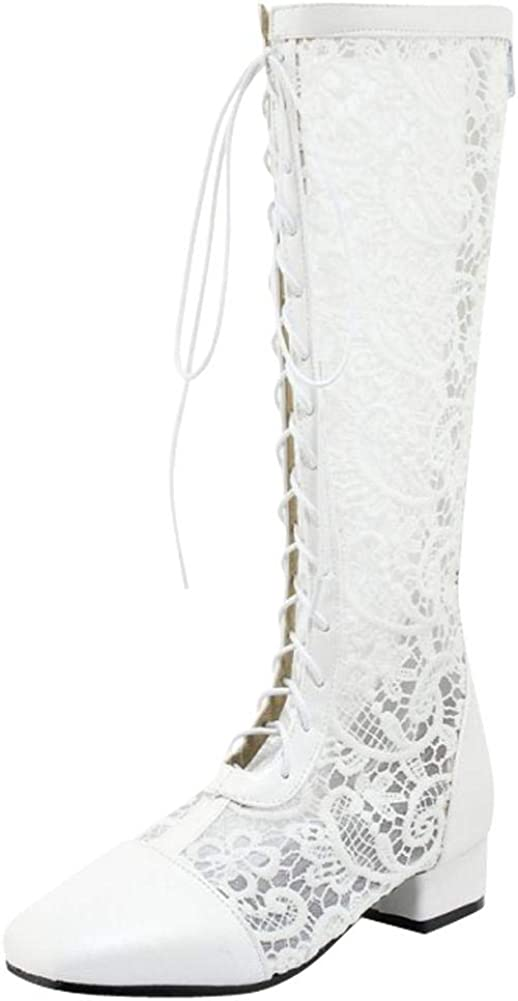 Latasa Womens Spring Summer Knee-high Lace Boots