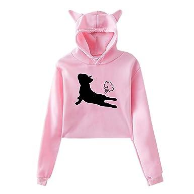 Amazon.com: Sudadera con capucha para mujer, diseño de perro ...