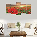 Custom Red Flowers Beautiful Landscape Canvas Print Bedroom Wall Painting Decoration Hotel Fashion Wall Art 5 Piece Oil Paintings Canvas (No Frame)