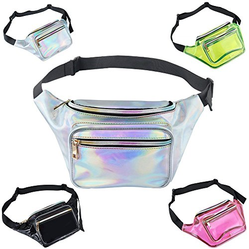 AblerV Holographic Fanny Packs Metallic Shiny 80s Fanny Pack with Adjustable Belt Fashion Waterproof Waist Bum Bag for Party, Festival, Rave, Hiking, Trip