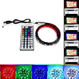 USB LED Strip Light, Haimi Tree 100cm RGB Multi-Color 5050 LED Strips TV Backlight Kit with 44 Keys Controller Waterproof 5V USB Cable for Home Decoration,TV, PC ,Desktop