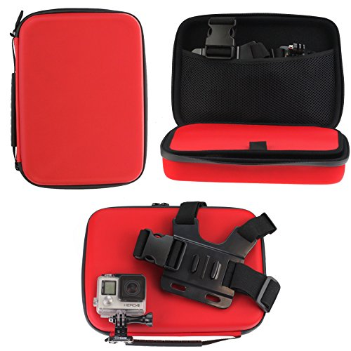 Navitech Red Shock Proof Hard Storage Case / Cover For The Amuoc 4K WiFi Ultra HD Action Camera