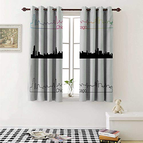 shenglv Chicago Skyline Blackout Draperies for Bedroom Metropolis City Panorama in Linear Rainbow Black Tones Architecture Modern Curtains Kitchen Valance W72 x L63 Inch Multicolor