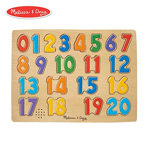 (Melissa & Doug Numbers Sound Puzzle - Wooden  Puzzle With Sound Effects (21 pcs))