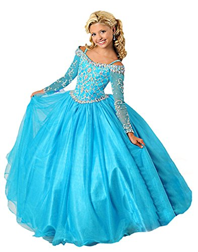 WZY Little Girls Long Sleeve Party Ball Gowns Beading Girls Pageant Dresses 6 US Blue