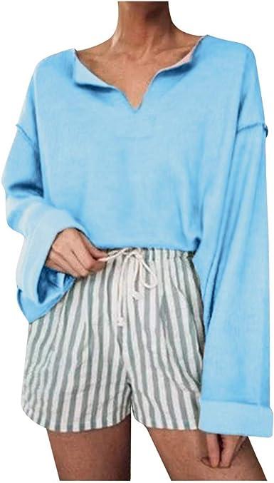 TOPKEAL Moda Blusa Casual Color Liso para Jovencita Básica ...