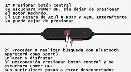 GENAI® Auriculares deporte alta calidad Sport-3 Bluetooth 4.1 Color Blanco, auricular bluetooth con Micro y auricular para la música estéreo para iPhone ...