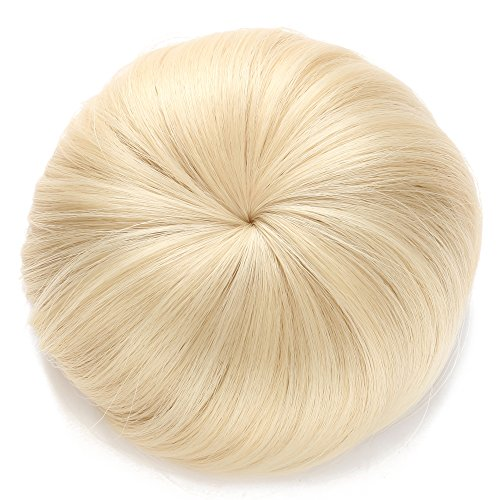 OneDor Synthetic Hair Bun Extension Donut Chignon Hairpiece Wig (613# Pre Bleach Blonde)