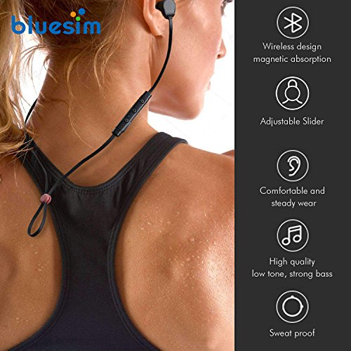 Bluesim Bluetooth Headphones with Microphone - 4.1 Wireless Bluetooth Earbuds for Running, Super Magnetic Neckband Earphones Noise Cancelling Bluetooth Headphones by Bluesim (Image #5)