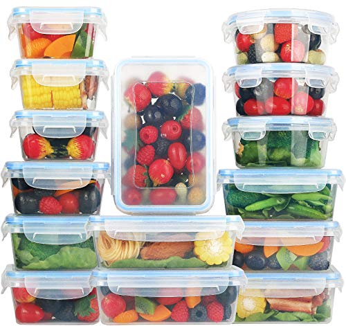 [15-Pack] Food Storage Containers with Lids - Plastic Food Containers with lids - Plastic Containers with lids - Airtight Leak Proof Easy Snap Lock and BPA Free Plastic Container Set for Kitchen Use