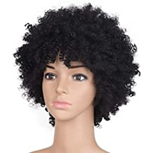 "BlondWigs Afro Kinky Curly wigs Twist Hair for black women wig synthetic short Natural Black wig Hair 8"" 120g (8inch, Black)"