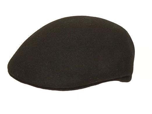 825551f9884 The Hat Outlet Men s Black Wool Felt Cap  Amazon.co.uk  Clothing