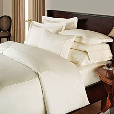 Splendid Collection 500 Thread Count Bedspread 100% Egyptian Cotton Queen Bed Sheet Set Sateen Deep Pocket Premium Quality 4-Piece Bedding Set Solid Ivory