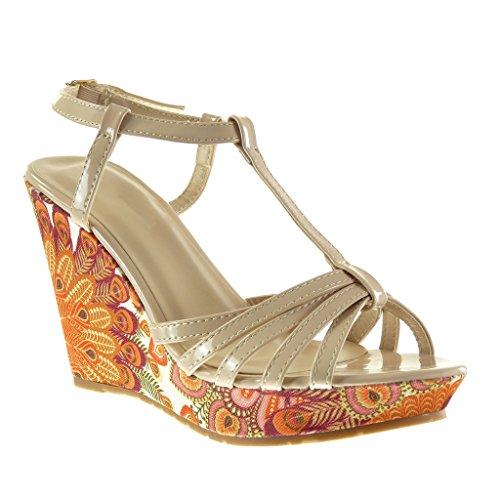 Angkorly - Chaussure Mode Sandale Mule plateforme salomés femme brodé fantaisie multi-bride Talon compensé plateforme 10.5 CM - Beige