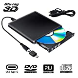 External Blu Ray DVD Drive 3D, USB 3.0 Typc C Portable Bluray DVD CD Optical Burner RW CD Row for MacBook OS Windows 7 8 10 PC iMac Laptop