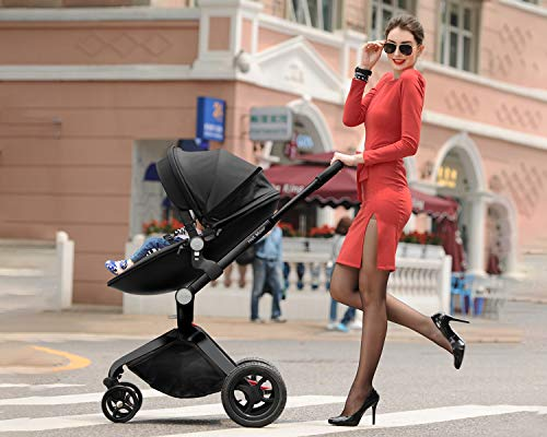 51Uet0IfQdL - Baby Stroller In 2020,Hot Mom Baby Carriage With Adjustable Seat Height Angle And Four-Wheel Shock Absorption,Reversible,High Landscape And Fashional Pram,Black