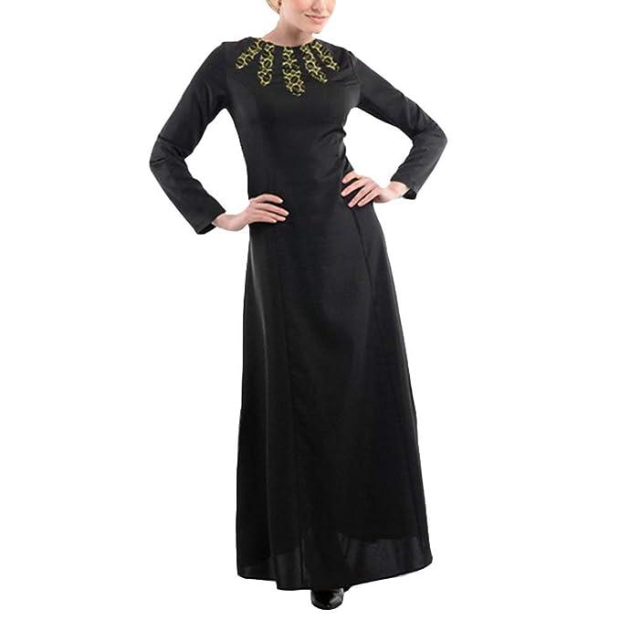Lejorce Vestidos de Manga Larga de Musulmanes Mujeres Abaya Ropas para árabe Turco: Amazon.es: Ropa y accesorios