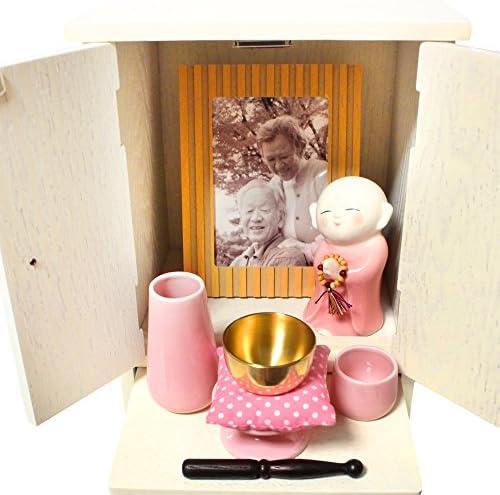 仏壇 ホワイト クローバー ミニ骨壷 祈り地蔵 美濃焼 & ミニ仏具 3点セット ピンク おりん