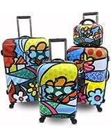Heys USA Luggage Britto Landscape Flowers 4 Piece Hardside Set