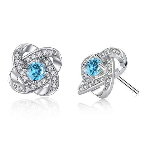 Aquamarine Clover Birthstone Earrings Silver- Silver Much Womens White Gold Copper Plated Round Cubic Zirconia Earrings