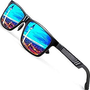 ATTCL Men's Hot Retro Driving Polarized Wayfarer Sunglasses Al-Mg Metal Frame Ultra Light (Black/Blue, 6560)