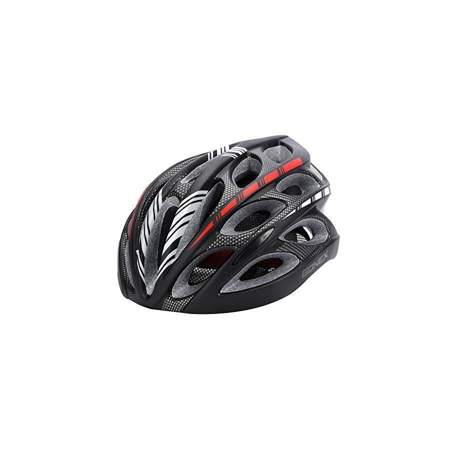 Gonex Adult Bike Helmet, Cycling Road Helmet with Safety Light, Adjustable 58 62cm, 24 Integrated Flow Vents