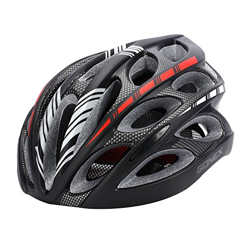 Gonex Adult Bike Helmet, Cycling Road Helmet with Safety Light, 24 Integrated Flow Vents, Adjustable 22.5-24.5 inches (Black) ()