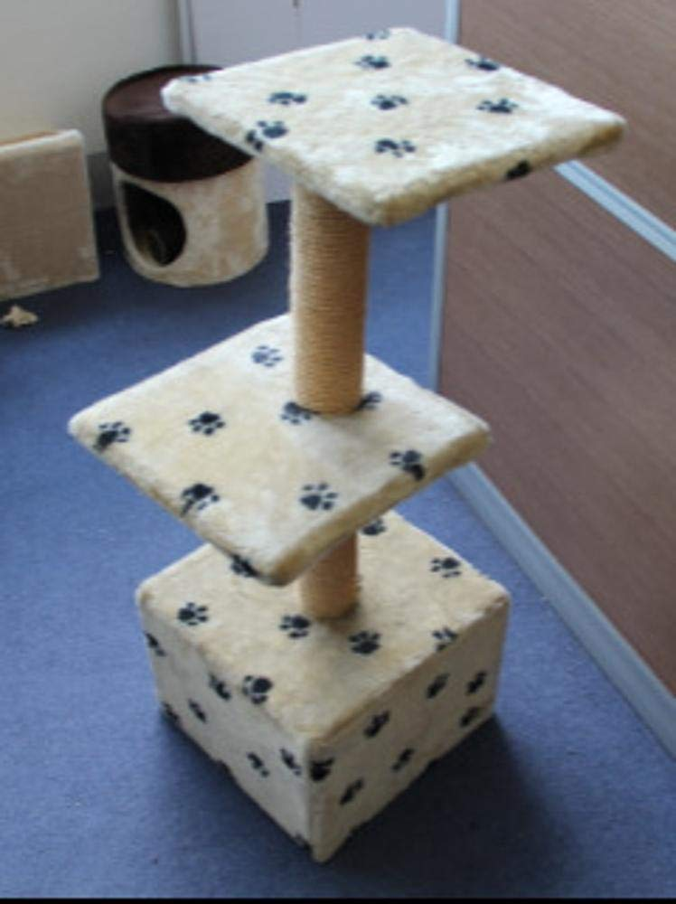 TOUYOUIOPNG Deluxe Multi Level Cat Tree Cat Play Towers Cat and Cat Nest pet 33  33  88cm Beige Plush