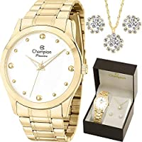 Relógio Champion Feminino Dourado Cn27983w Kit Colar Brincos