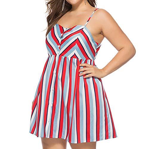 Plus Size Straps Women Dress Striped Button Decoration Backless Swing Short Dresses (Red, XXXL)