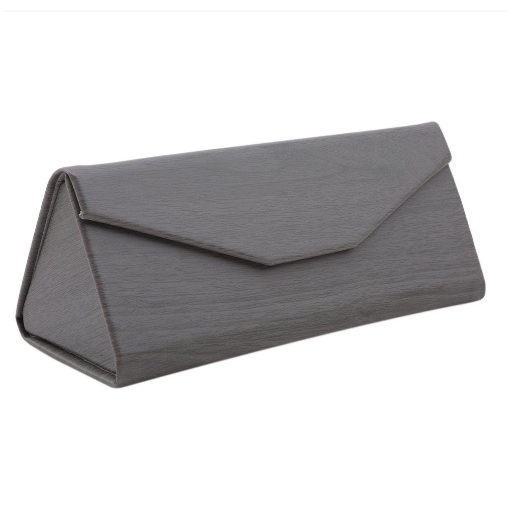 Gray Wood Leder 16 * 7cm kemai Dreieckige Holzmaserung faltbar Sonnenbrillenetui Faltbare Brillenetui Sonnenbrille Brillenetui