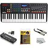 Akai Professional Compact Keyboard Controller (49-Key) with 4-Port USB 2.0 Hub + MIDI Cable Pack of Cable ties & Cleaning Cloth