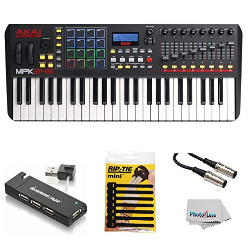 - Akai Professional Compact Keyboard Controller (49-Key) with 4-Port USB 2.0 Hub + MIDI Cable Pack of Cable ties & Cleaning Cloth