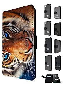 1087 - cool fun nature tiger eyes cat kitten feline animals wildlife india rare love Design Sony Xperia Z1 Compact / Mini Fashion Trend TPU Leather Flip Case Full Case Flip Credit Card TPU Leather Purse Pouch Defender Stand Cover