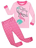 Kids Pajamas Hop Girls Mermaid Pajamas Kids 2 Piece Pants Set Childrens Pjs Long Sleeve (Pink,7T)