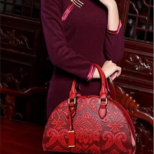 Femme Relief Red Diagonale Sac Style Boulettes à à Paquet Bandoulière De Sac Chinois Sac Main En FYR7qxZ4