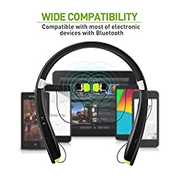 GRDE Bluetooth Headset, Wireless Stereo Sports Headphones with Foldable Neckband and Retractable Earbuds In-ear Earphones for Smartphones
